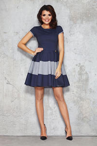 Blue and Grey Casual Dress with Single Button Embellishment