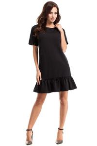 Black Flared Mini Dress with a Frill