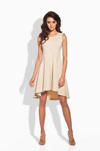 Beige Dipped Hem Coctail Dress