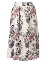Patterned Flared Midi Skirt