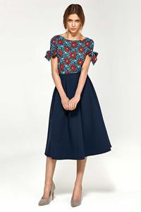 Navy Blue Flared Midi Skirt