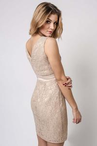 Beige Bodycon Lace V-Neckline Dress