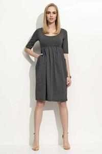 Dark Grey 3/4 Sleeves Midi Dress