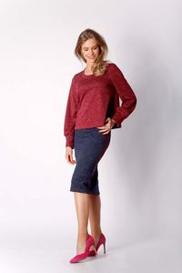 Dark Red Short Trapezoidal Knitted Blouse