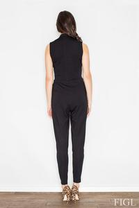 Black Wrap Design Shirt's Style Collar Ladies Jumpsuit