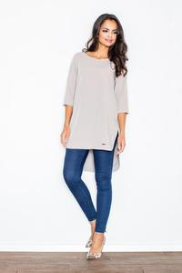 Beige Simple Office Style Long Blouse-Tunic