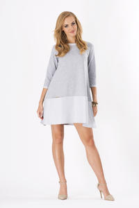 Grey 3/4 Sleeves Loose Fit Dress with Pockets