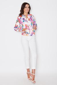 Floral Pattern Stand-up Collar Zipper Closure Jacket