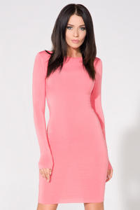 Pink Bodycon Open Back Dress