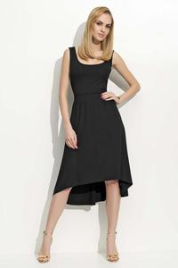 Black Round Neckline Asymetrical Dress