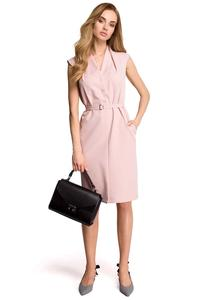 Powder Pink Sleeveless Mini Dress with Belt