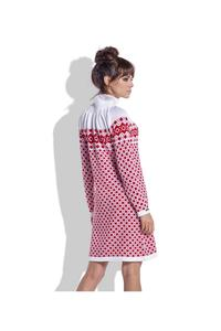Red&White Winter Style Pattern Dress