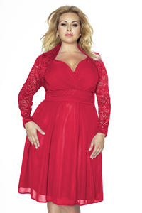 Red Lace Short Bolero Blazer PLUS SIZE