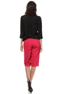Pink Wide Cut Leg Cropped Length Loose Fit Pants