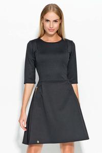 Black Flared 3/4 Sleeves Knee Length Dress