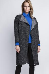 Dark Grey Stylish Fall Coat with Belt and Big Collar
