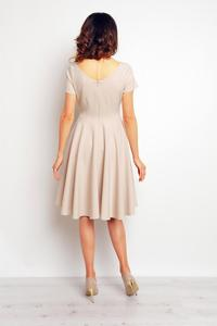 Beige V-Neckline Plared Midi Dress