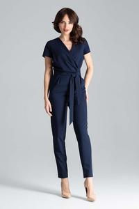 Nevy Blue Elegant Suit with Envelope Neckline