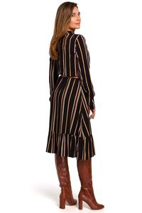 Striped dress with Stand-up Collar