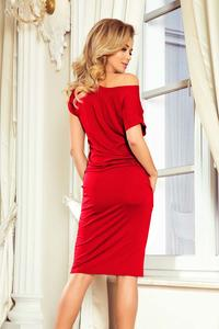 Red Knitted Dress with Tunnel in Waist