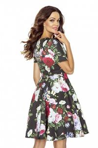 Floral Pattern Flared Coctail Dress