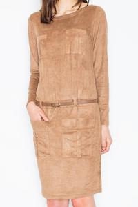 Brown Office Style Dress with Pockets