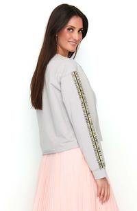 Grey Sports-Casual Sweatshirt with Decorative Pipeline