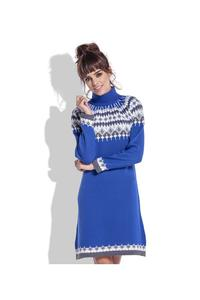 Blue Knitted Scandinawian Patterns Dress
