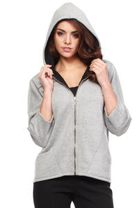 Grey Zipper Hooded Ladies Blouse