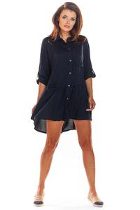 Black Loose Frill Shirt Dress