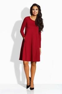Maroon Flared Dress with Golden Buttons