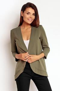 Khaki No Buttons 3/4 Sleeves Simple Thin Blazer