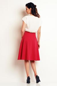 Pink Side Pockets Flared Midi Skirt
