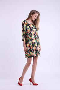 Floral Short Knitted Dress with Pockets