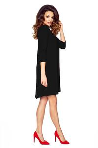 Black Flared 3/4 Sleevess Classic Dress