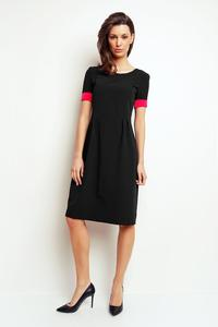 Black Midi Dress with Piping at The Sleeves