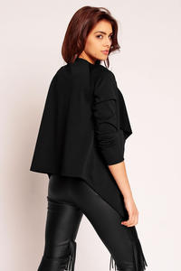 Black Pastel Elongated Side Spring Cardi Jacket