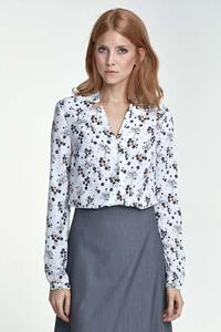 Ecru Floral V-Neckline and Classic Collar Shirt