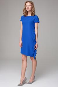 Blue Simple Dress with Asymetrical Frill