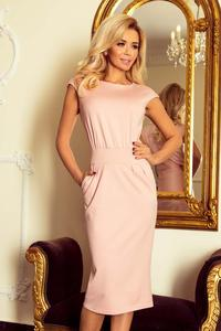 Pink Powder Midi Pencil Dress With Pocket