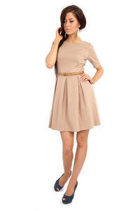 Coffee Magnanimous Modern Belted Tea-length Dress