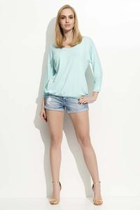 Mint Green 3/4 Sleeves Simple Blouse