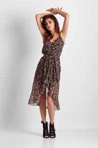 Midi Leopard Dress Asymmetrical Bottom