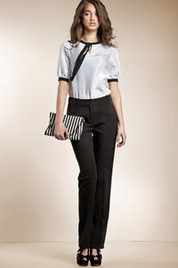 Tailored Straight Cut Black Pants with Button Fastening