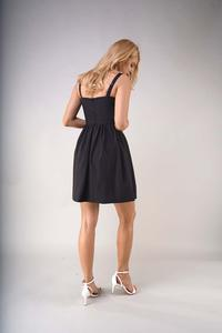 Black Flared Summer Dress with Braces