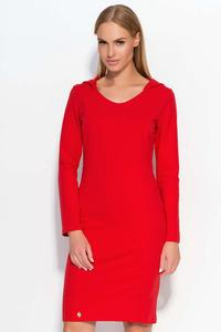 Red Hooded Casual Dress