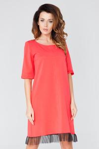 Coral 1/2 Sleeves Plain Dress with Tulle Edging