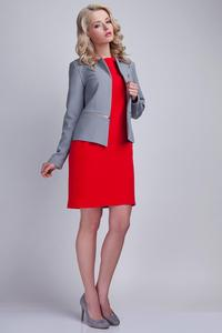 Grey Elegant Ladies Blazer with 3 Zippers