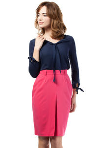 Pink Elegant Knee Lenght Double Fold Skirt