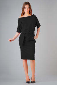 Black Loose Neckline Self Tie Belt Casual Dress